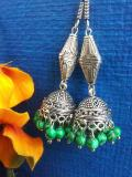 Beautiful Beaded Indian Metal Jhumka Earrings