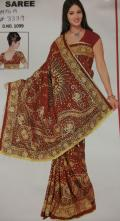 Red Chunri Style Saree with Traditional Embroidery