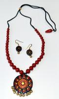 Terracotta Round Necklace and Earring Set