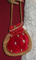 Red Handcrafted Bridal Handbag / Clutch