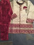 Gorgeous Maroon Cream Self Design Kids Sherwani Suit (3 Year)