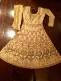 Elegant Gold Long Anarkali & Dupatta \w Heavy Hand Work (M)