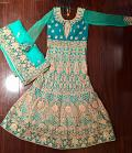 Elegant Green Gold Floor Length Anarkali \w  Heavy Hand Work (M)