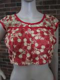 Red & Beige Combination Net Blouse