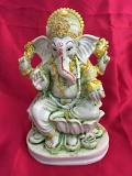 Beautiful Carved Wood Ganesha Ganpati Sculpture 6.5""