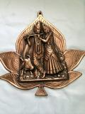 Antique Large Radha Krishna Statue Copper Wall Decor