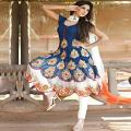 Stylish Trendy White Blue Anarkali Salwar Kameez Suit (Unstitched)