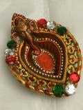 Decorative Ganesha Clay Diya with Stone Work