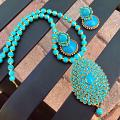 Turquoise Blue pacchi Pendant set with paper quilled jhumkas!!!!