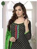Black & Green Cotton Argandi Palazzo Suit (Unstitched)