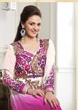 Long Anarkali Dress in Pink & Purple Combination (S 38)