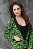 Bright Cotton Black & Green Printed Reversible Jacket