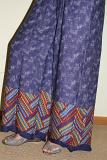 Blue Printed Palazzo Pants w/ Multi Color Printed Border