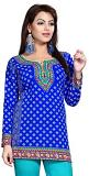 Stylish Blue Crepe printed Kurti (M 40'' - 3XL 48'')