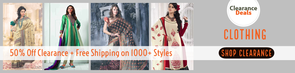 Flat 50% Off Indian Clothing Clearance on 1000+ Styles