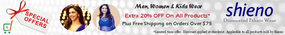 Indian Clothes, Sarees, Salwar Kameez, Kurtis - Extra 20% OFF and Free Shipping*